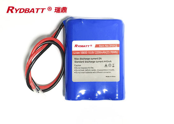 3S1P 10.8V 2200mAh 23.76Wh 18650 Lithium Ion Battery